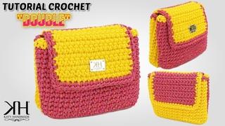 Tutorial borse/pochette uncinetto - Pochette a 2 scomparti Double crochet ♡ Katy Handmade