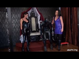 Strapon Latex mistresses femdom sessions with slaves