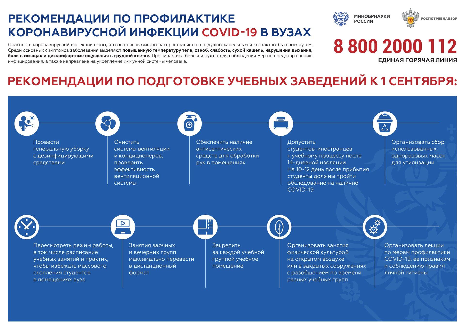 Рекомендации Роспотребнадзора и Минобрнауки России по профилактике COVID-19