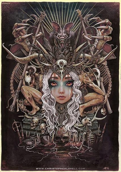 Исчадия ада Кристофера Ловелла Сегодня перед вами распахнутся врата тёмной фантазии британского иллюстратора-самоучки, который фантастически рисует дьяволов, демонов, ведьм и прочих исчадий