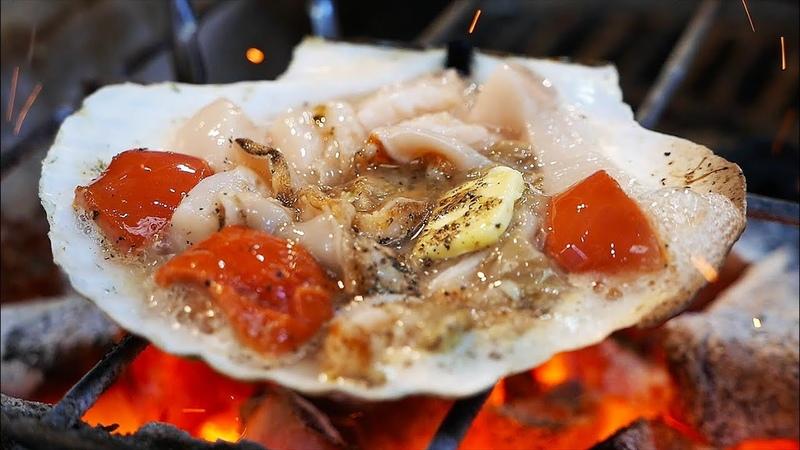 Japanese Street Food OSAKA SEAFOOD Giant Scallops Oysters Sea Urchin Japan