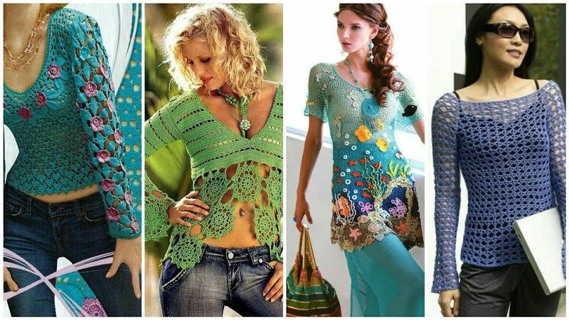 Latest stylish Beautiful granny squar top vintage top crochet top blouse design for ladies