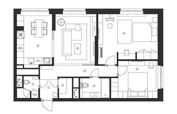 Воздушная квартира 78 м² для мамы и дочки-школьницы от Ксении Коноваловой || 02