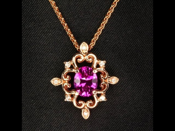 14K Rose Gold Pink Sapphire and Diamond Pendant 1.29 Carats
