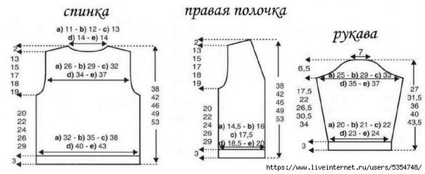 ЖАКЕТ (КОСЫ)  на возраст: а) 2 года; b) 4...