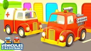 Dessins animés pour les enfants. Véhicules d'assistance: un camion de pompier et une ambulance