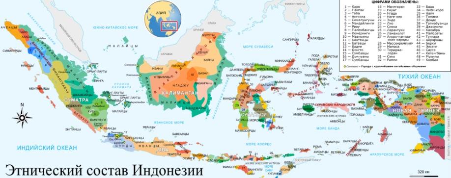 Карта этнических групп Индонезии