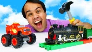 Os trilhos do trem de brinquedo! História infantil com carros Blaze and the Monster Machines