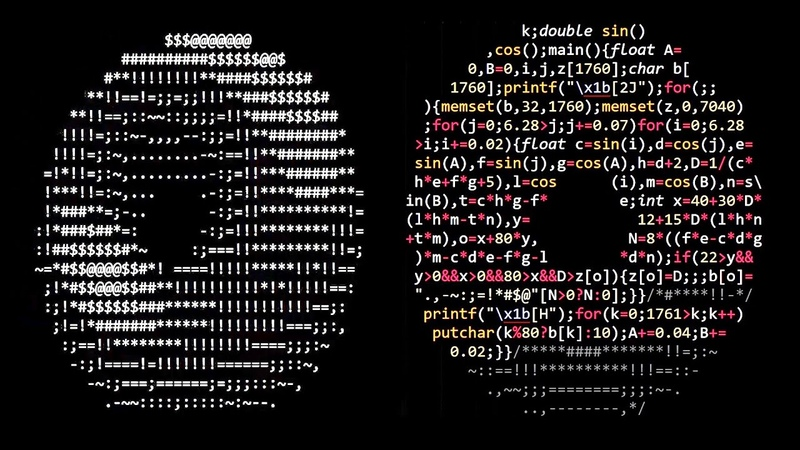 Donut shaped C code that generates a 3D spinning donut