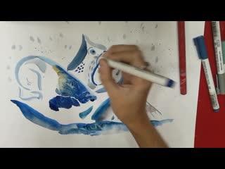мастер-класс для детей узнаём об антарктической экспедиции и делаем зарисовки