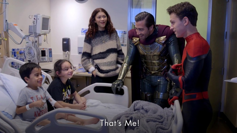Spider Man Cast Tom Summers Riley Archer Morgan Draven Surprises Kids at Children's Hospital LA