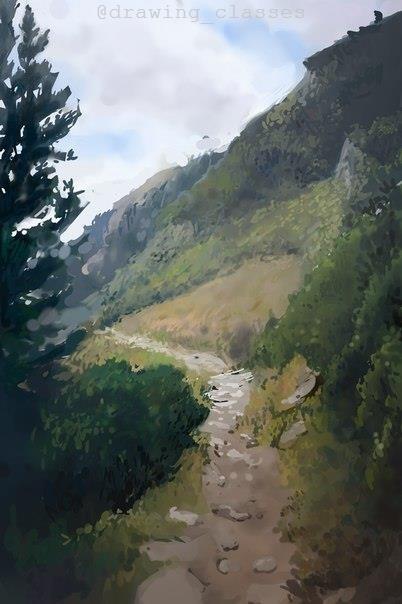 Этапы прорисовки пейзажа