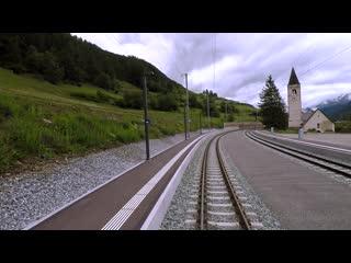 Meter-gauge cab ride on the Vereina line RhB RegioExpress Landquart - Scuol-Tarasp (Switzerland)