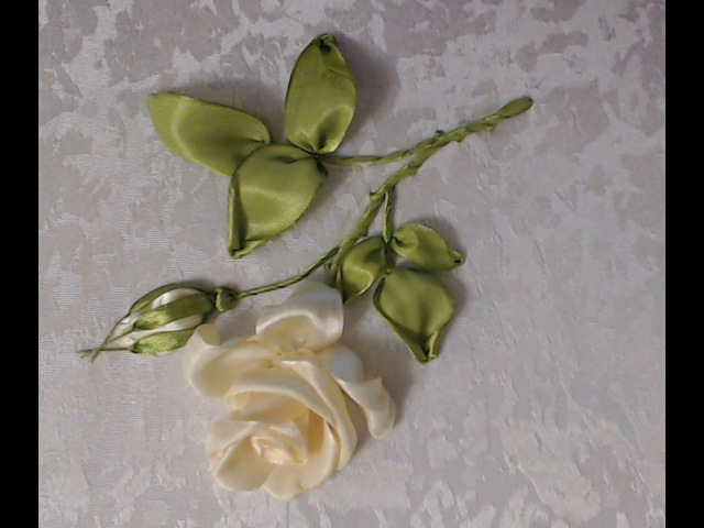 Вышивка лентами розы стебель листья бутон Embroidery ribbons rose stem leaf Bud Alsu Galimova