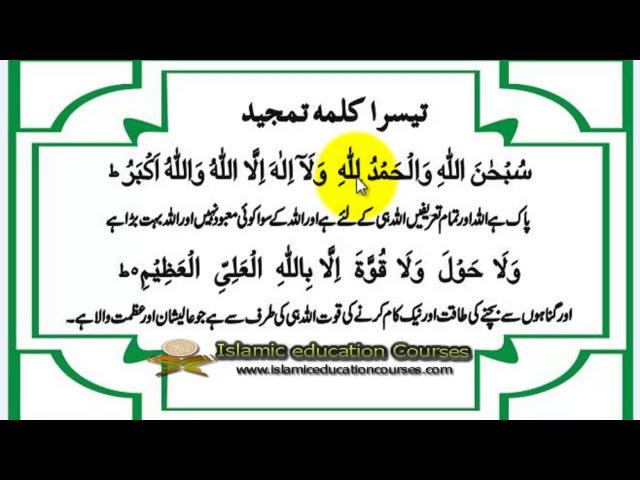 Third kalima tamjeed with Translation In Urdu