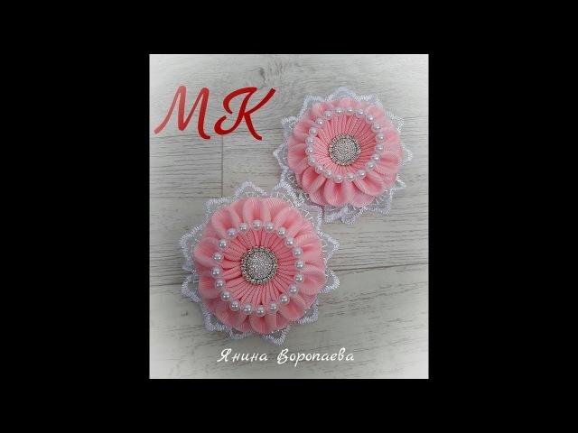 Интересные резинки Зефирки Канзаши МК DIY Scrunchy with Kanzashi flowers