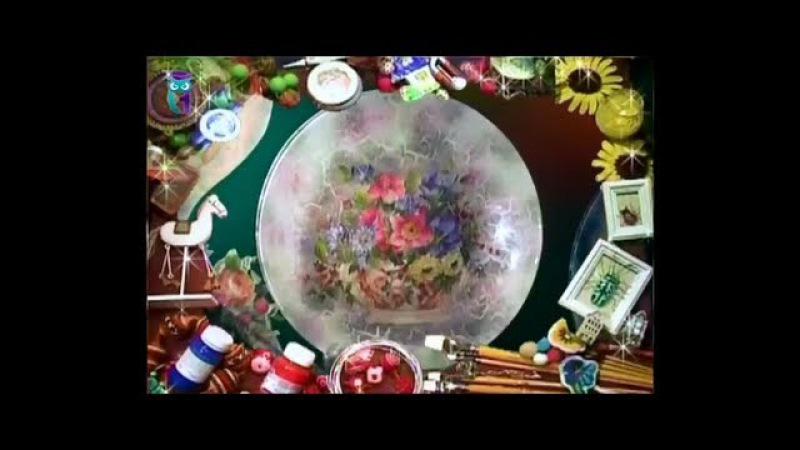 Дымчатый декупаж В технике дымка декорируем тарелку и часы Мастер класс Наташа Фохтина