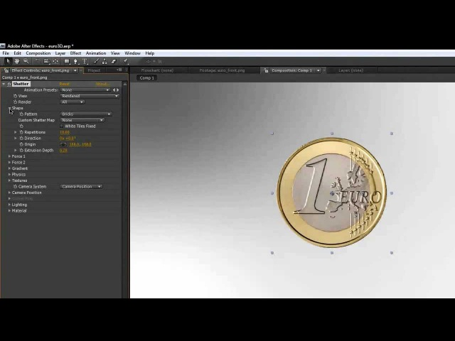 After Effects Tutorial 3D Euro Münze Deutsch