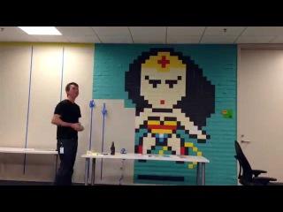 The Shop SF Superhero Post It Mural