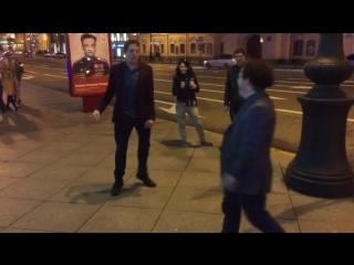 English lads having a rap battle on Nevsky prospekt