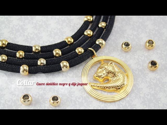 Como hacer un collar cuero negro y dije jaguar ENGLISH CC