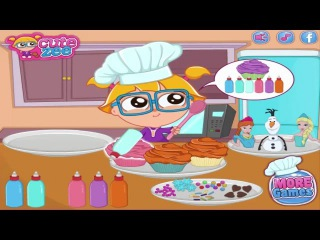 Cocking academy Elsa, spaghetty Anna and Joy Princess and cooking donuts
