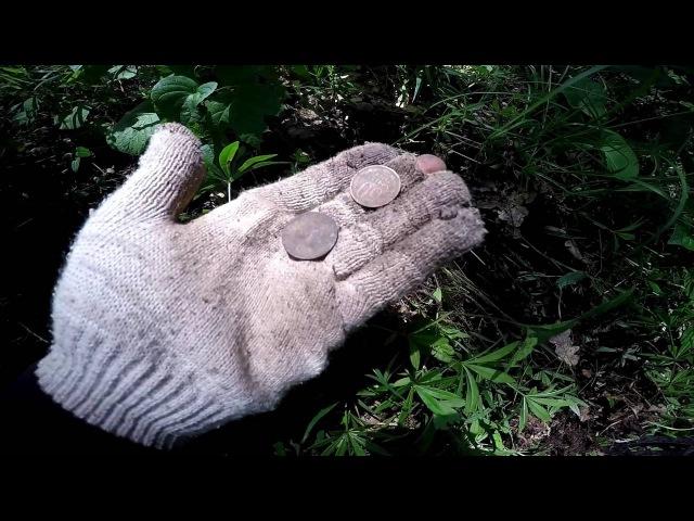 Поиск с металлоискателем 2016 Коп с отцом в лесных джунглях Монеты есть GoPro Metal Detecting