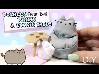 How To Miniature Pusheen Bean Bag & Cookie Table Tutorial // DIY Doll Furniture