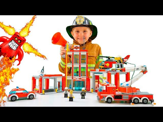 Лего Сити Пожарная Часть 60110 и Пожарный Даник Тушим Фургон Пиццерию 60150 Lego City Fire Station