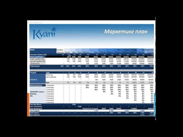 Маркетинг план Кайани Kyani Кратко