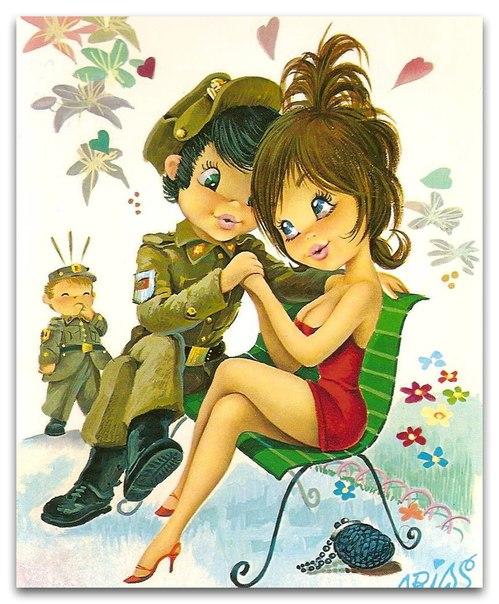 Девочка и солдат открытки, днем окончания