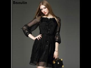 Banulin slash neck elegant vintage lace black mini dress vestidos