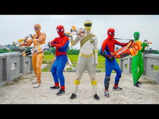 Superheroes war Spiderman vs Power Rangers Nerf guns Killer Clown 2 Attacks Nerf war Action movie