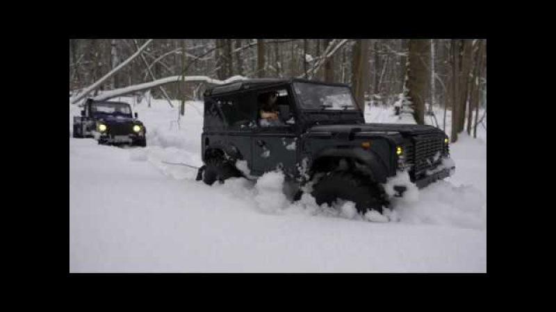 Land Rover defender 90 feat 110 HCPU drive in deep snow езда по очень глубокому снегу