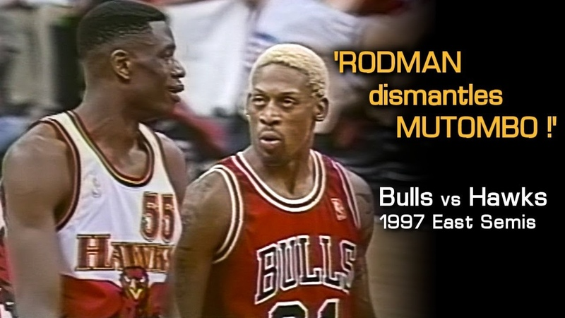 Dennis Rodman's Epic MIND GAMES With Mutombo Laettner Full Series Hlts Vs Hawks 1997 Playoffs