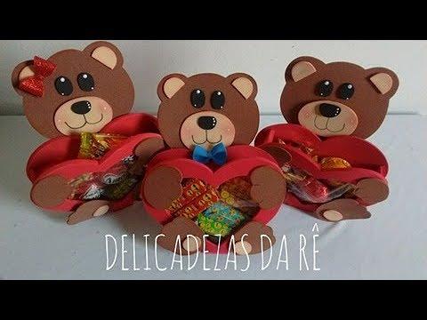 DIY Lembrancinha Dia Dos Namorados Porta Bombom Coração Urso.
