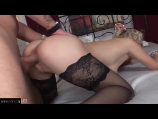 [ in stockings,чулки &  blondes &  anal / curly , cumshot on chest , beautiful lingerie , horsewoman , ass]