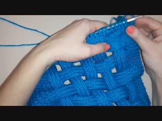 Вязание спицами!просто и быстро связать модный с переплетением снуд (шарф)