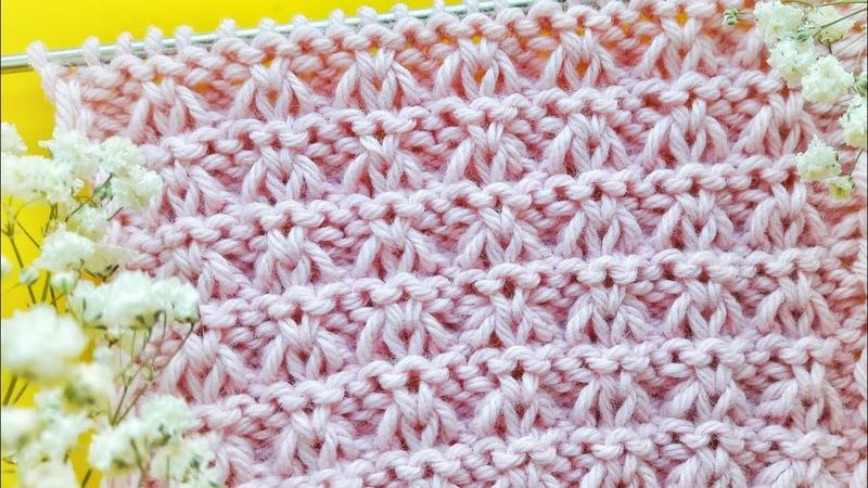 Простой узор со снятыми петлями / Вязание спицами