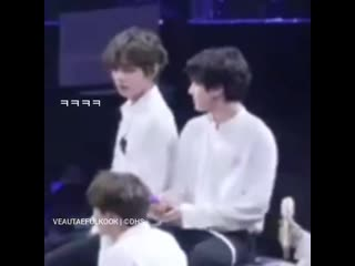 Jungkook massaged taehyungs shoulder while hes going back to his seat and tae wanted more