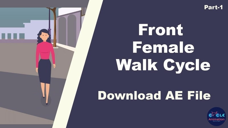 Front Female Walk Cycle using After Effects Tutorial part - 01