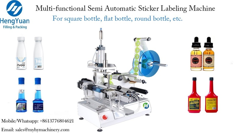 Multi functional Semi-Automatic Sticker Label applicator for square bottle fully wrapped labeler
