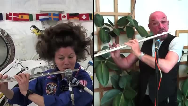 Ian Anderson Cady Coleman flute duet in space 2011
