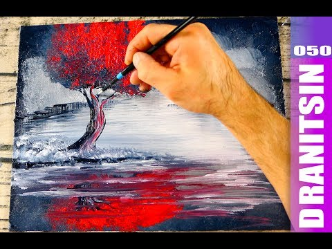 3 color painting techniques | red tree | abstract landscape art | acrylics | 050