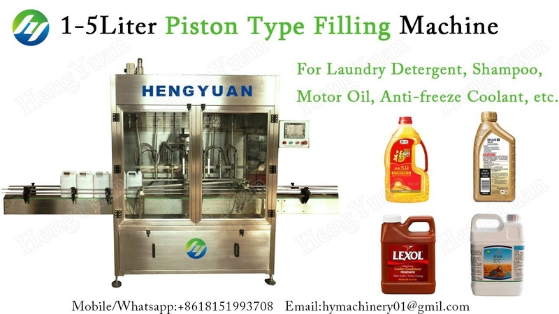 High Accuracy 1-5 Liters Servo Motor Driving Piston Type Filling Machine for Laundry Liquid Bottling