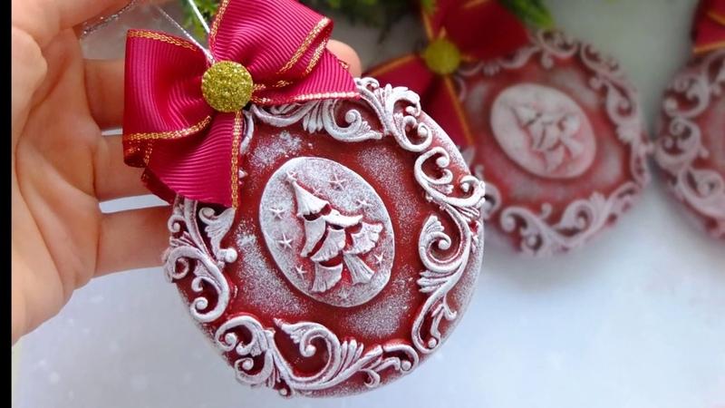 Елочные игрушки медальоны с лепниной своими руками Christmas Ornaments