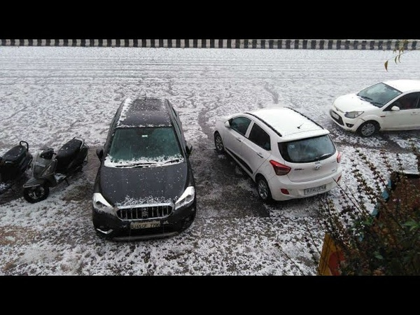 Hailstorm in Jaipur India crops destroyed by freak storm in Rajasthan