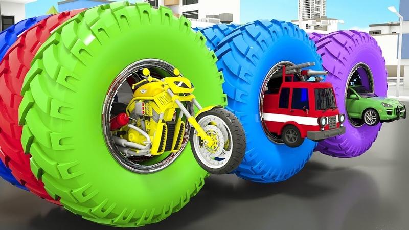 Impara i colori con Ruote magiche che dipingono camion dei pompieri moto ambulanza