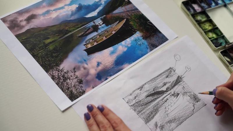 4 Рисуем акварелью: лодки на горном озере, облака, отражения