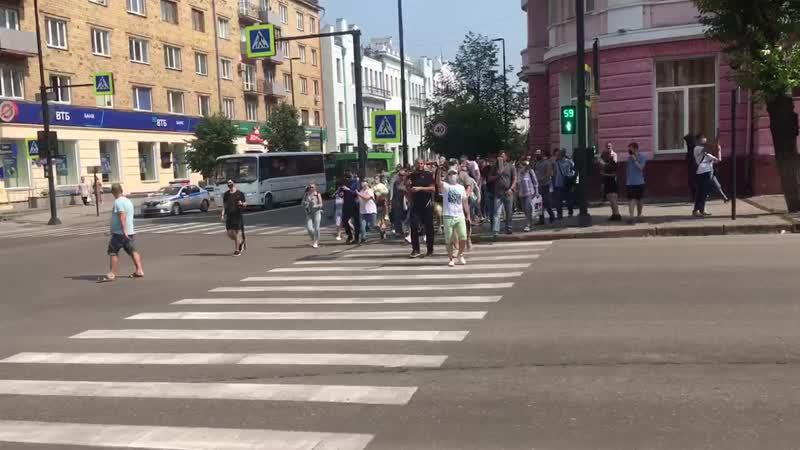 Красноярск Свободные люди вышли в поддержку Хабаровска и против воровской власти Путина